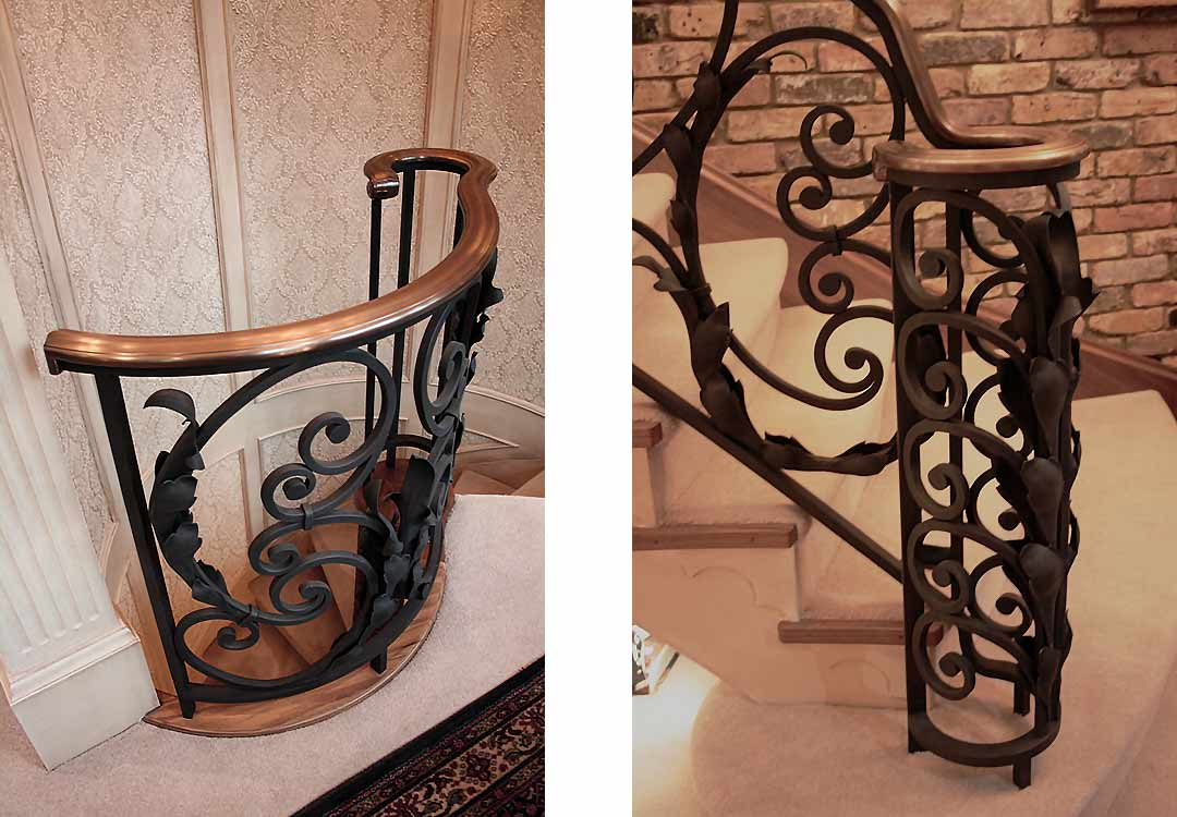Top balustrade to spiral staircase and Ground floor base newel.