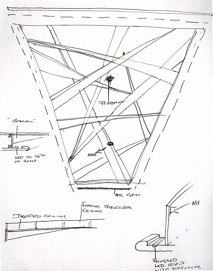 Design sketch of pick up sticks fibrous plaster ceiling
