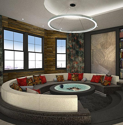 Rotating sunken sofa - case study for Tenet Design