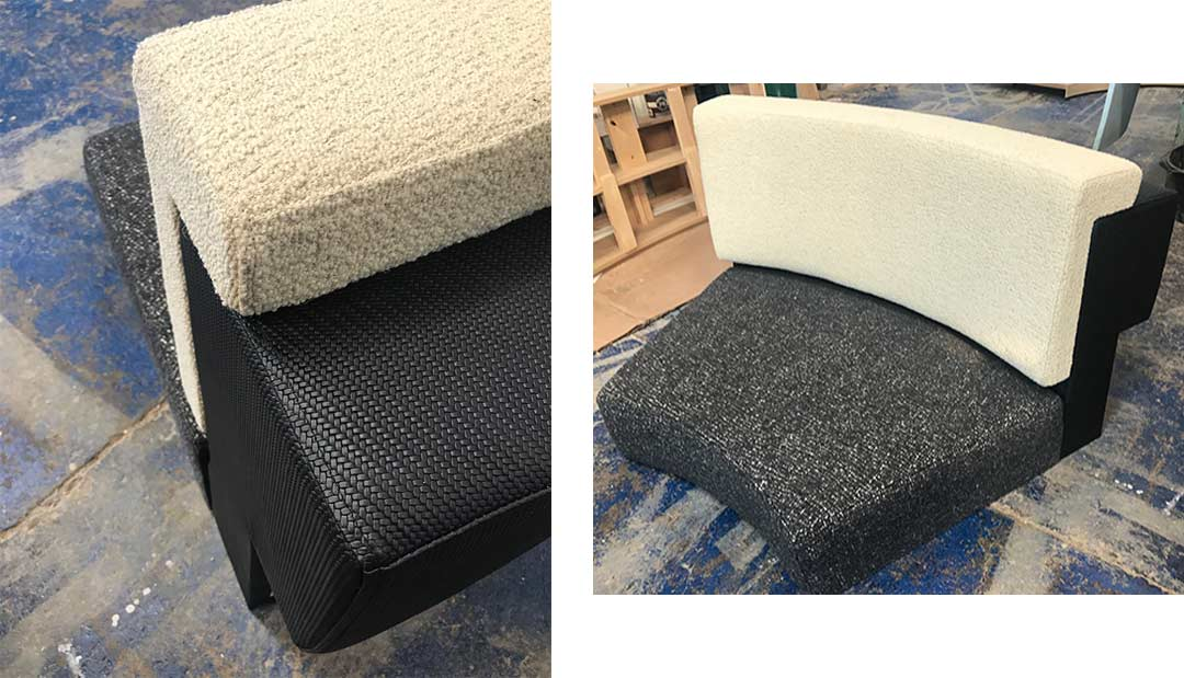 Sample sections upholstered