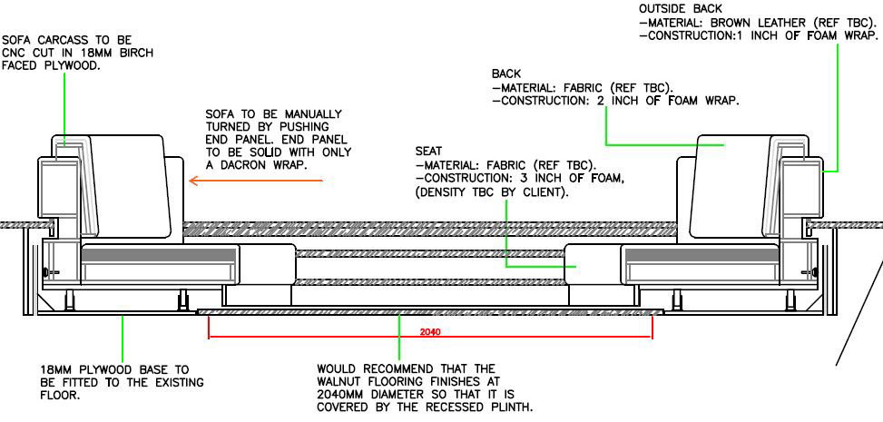 Sofa section drawings