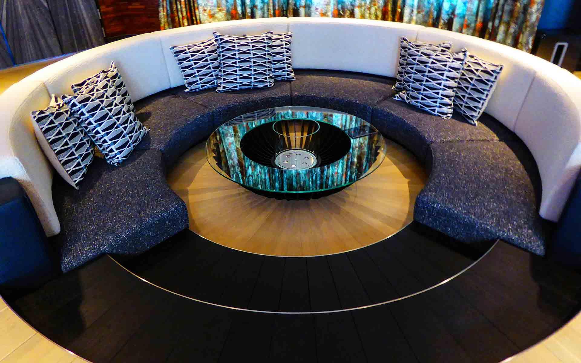 Finished revolving Mayfair sofa